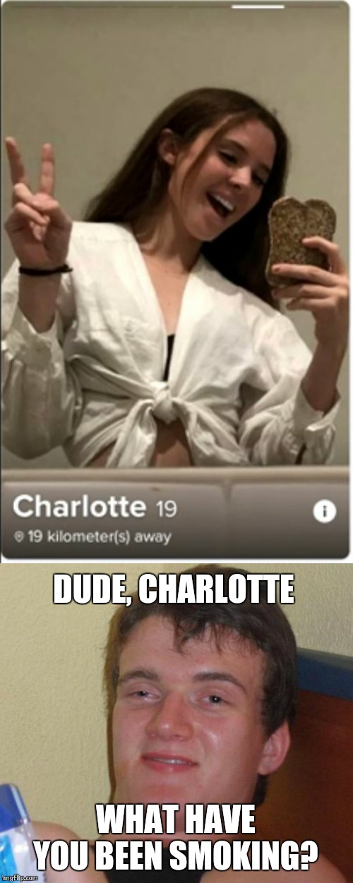 BREAD CAM |  DUDE, CHARLOTTE; WHAT HAVE YOU BEEN SMOKING? | image tagged in memes,10 guy,selfie | made w/ Imgflip meme maker