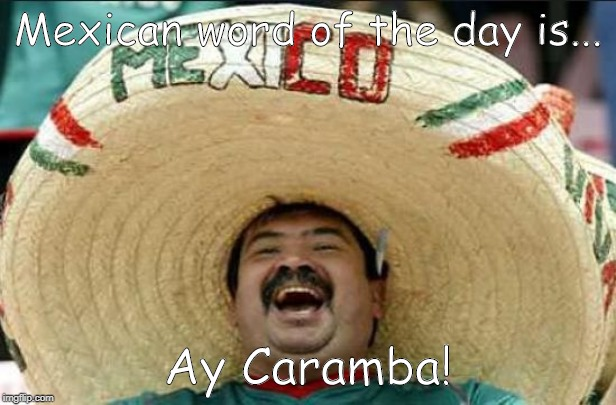 mexican word of the day | Mexican word of the day is... Ay Caramba! | image tagged in mexican word of the day | made w/ Imgflip meme maker