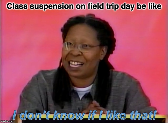 new meme image | Class suspension on field trip day be like | image tagged in i don't know if i like that,hollywood squares,game show,whoopi goldberg,memes,funny | made w/ Imgflip meme maker