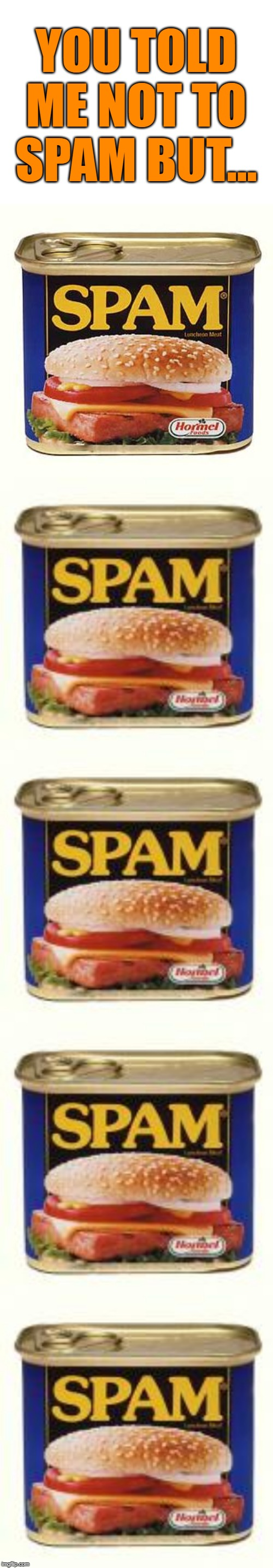YOU TOLD ME NOT TO SPAM BUT... | image tagged in spam,can,funny | made w/ Imgflip meme maker