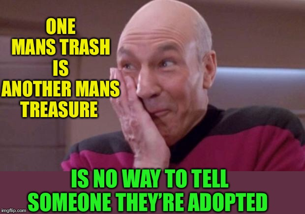It's time we talked to you. | ONE MANS TRASH IS ANOTHER MANS TREASURE IS NO WAY TO TELL SOMEONE THEY'RE ADOPTED | image tagged in picard oops,adopted,insult,trash | made w/ Imgflip meme maker