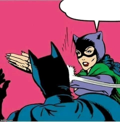 Catwoman Slaps Batman | image tagged in catwoman slaps batman | made w/ Imgflip meme maker
