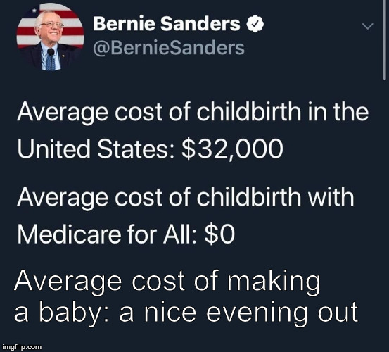 The Gift that Keeps on Giving |  Average cost of making a baby: a nice evening out | image tagged in bernie sanders,babies,politics,presidential race,election 2020,priceless | made w/ Imgflip meme maker