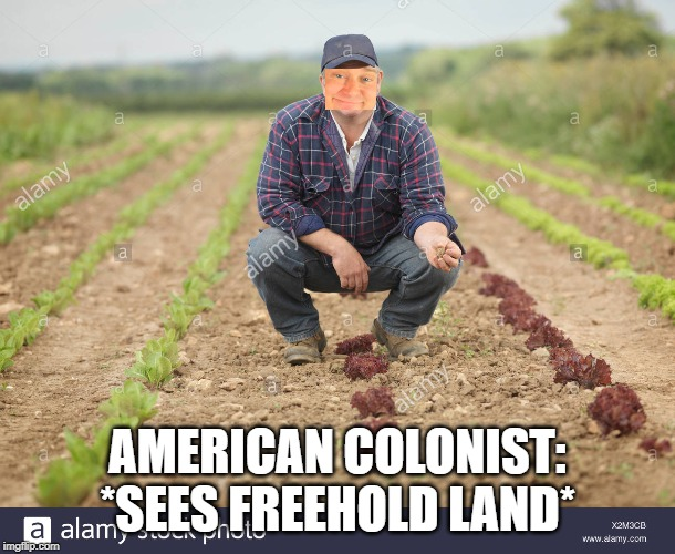 AMERICAN COLONIST:*SEES FREEHOLD LAND* | image tagged in history,it's free real estate,farmer,funny | made w/ Imgflip meme maker