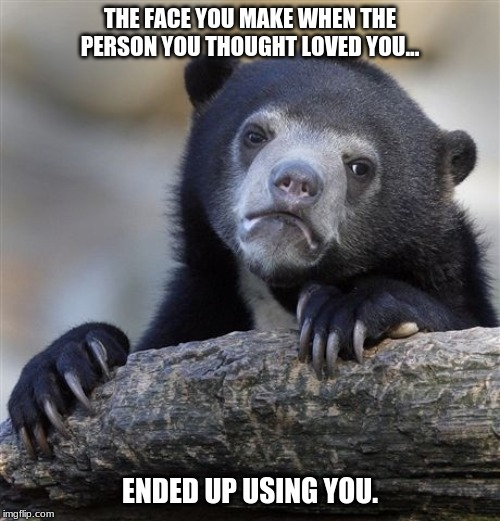 Heart Broken | THE FACE YOU MAKE WHEN THE PERSON YOU THOUGHT LOVED YOU... ENDED UP USING YOU. | image tagged in memes,confession bear | made w/ Imgflip meme maker