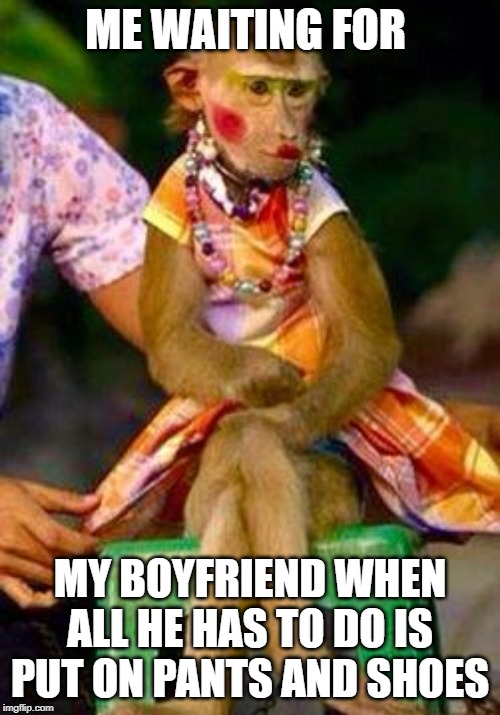 Monkey wearing makeup | ME WAITING FOR MY BOYFRIEND WHEN ALL HE HAS TO DO IS PUT ON PANTS AND SHOES | image tagged in monkey,makeup,boyfriend,getting ready | made w/ Imgflip meme maker