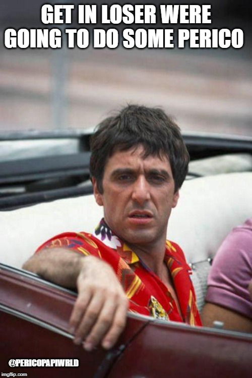 Scarface | GET IN LOSER WERE GOING TO DO SOME PERICO @PERICOPAPIWRLD | image tagged in scarface | made w/ Imgflip meme maker