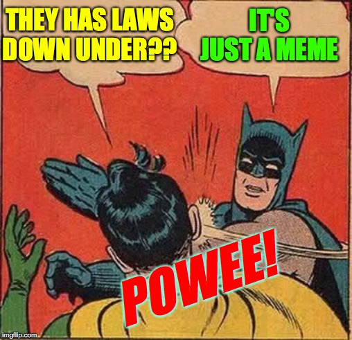 Batman Slapping Robin Meme | THEY HAS LAWS DOWN UNDER?? IT'S JUST A MEME POWEE! | image tagged in memes,batman slapping robin | made w/ Imgflip meme maker
