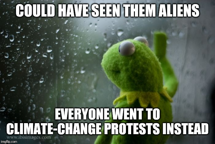 kermit window | COULD HAVE SEEN THEM ALIENS EVERYONE WENT TO CLIMATE-CHANGE PROTESTS INSTEAD | image tagged in kermit window,AdviceAnimals | made w/ Imgflip meme maker