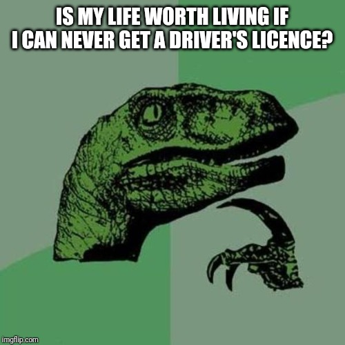 raptor | IS MY LIFE WORTH LIVING IF I CAN NEVER GET A DRIVER'S LICENCE? | image tagged in raptor | made w/ Imgflip meme maker