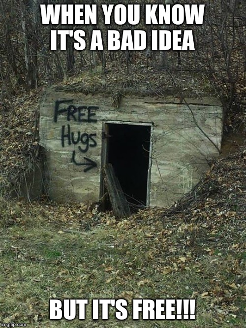 WHEN YOU KNOW IT'S A BAD IDEA; BUT IT'S FREE!!! | image tagged in free | made w/ Imgflip meme maker