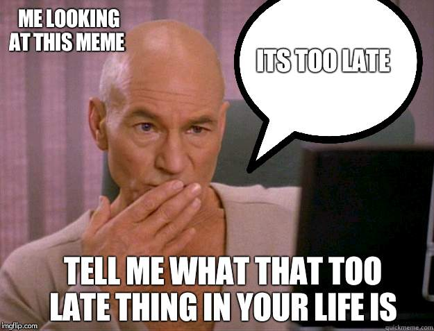 Captain Picard  | ME LOOKING AT THIS MEME ITS TOO LATE TELL ME WHAT THAT TOO LATE THING IN YOUR LIFE IS | image tagged in captain picard | made w/ Imgflip meme maker