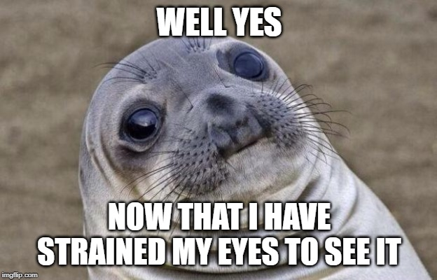 Awkward Moment Sealion Meme | WELL YES NOW THAT I HAVE STRAINED MY EYES TO SEE IT | image tagged in memes,awkward moment sealion | made w/ Imgflip meme maker