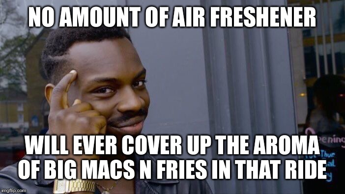 Roll Safe Think About It Meme | NO AMOUNT OF AIR FRESHENER WILL EVER COVER UP THE AROMA OF BIG MACS N FRIES IN THAT RIDE | image tagged in memes,roll safe think about it | made w/ Imgflip meme maker