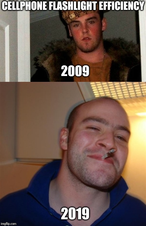 Steve and Greg | CELLPHONE FLASHLIGHT EFFICIENCY 2009 2019 | image tagged in cell phone,scumbag steve,good guy greg | made w/ Imgflip meme maker