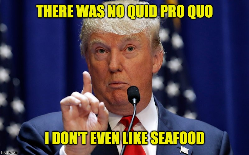 Donald Trump | THERE WAS NO QUID PRO QUO I DON'T EVEN LIKE SEAFOOD | image tagged in donald trump | made w/ Imgflip meme maker
