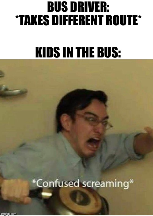 School Bus |  BUS DRIVER: *TAKES DIFFERENT ROUTE*; KIDS IN THE BUS: | image tagged in confused screaming,school,school bus,bus driver,little kid | made w/ Imgflip meme maker