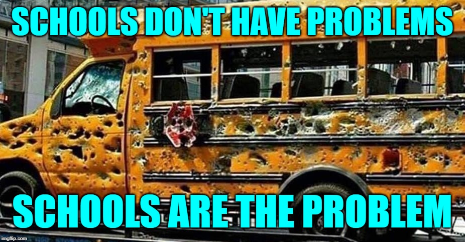 School Problems | SCHOOLS DON'T HAVE PROBLEMS SCHOOLS ARE THE PROBLEM | image tagged in chicago school bus,so true memes,problems,school days,public schools,live and learn | made w/ Imgflip meme maker