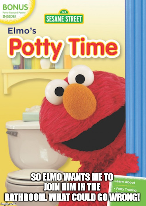 Elmo's potty time | SO ELMO WANTS ME TO JOIN HIM IN THE BATHROOM. WHAT COULD GO WRONG! | image tagged in elmo,nightmare elmo | made w/ Imgflip meme maker