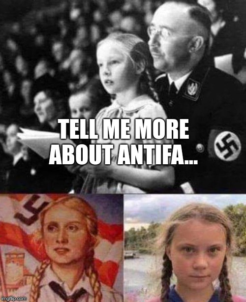 pigtails_for_nazis | TELL ME MORE ABOUT ANTIFA... | image tagged in pigtails_for_nazis | made w/ Imgflip meme maker