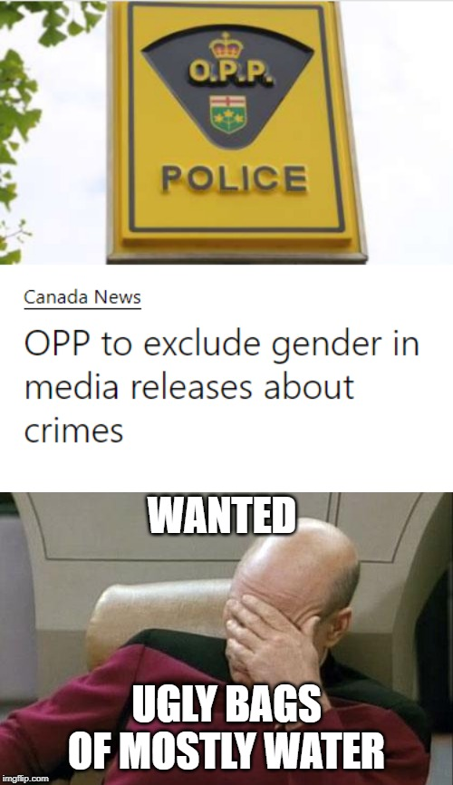 The end of sanity |  WANTED; UGLY BAGS OF MOSTLY WATER | image tagged in gender,stupid people,special kind of stupid,human stupidity,gender identity,meanwhile in canada | made w/ Imgflip meme maker