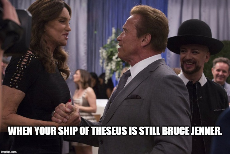 When Your Ship of Theseus is Still Bruce Jenner. |  WHEN YOUR SHIP OF THESEUS IS STILL BRUCE JENNER. | image tagged in ship of theseus,bruce jenner,identity,meaning,truth,arnold schwarzenegger | made w/ Imgflip meme maker