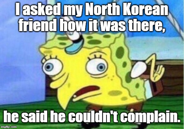 Mocking Spongebob |  I asked my North Korean friend how it was there, he said he couldn't complain. | image tagged in memes,mocking spongebob | made w/ Imgflip meme maker
