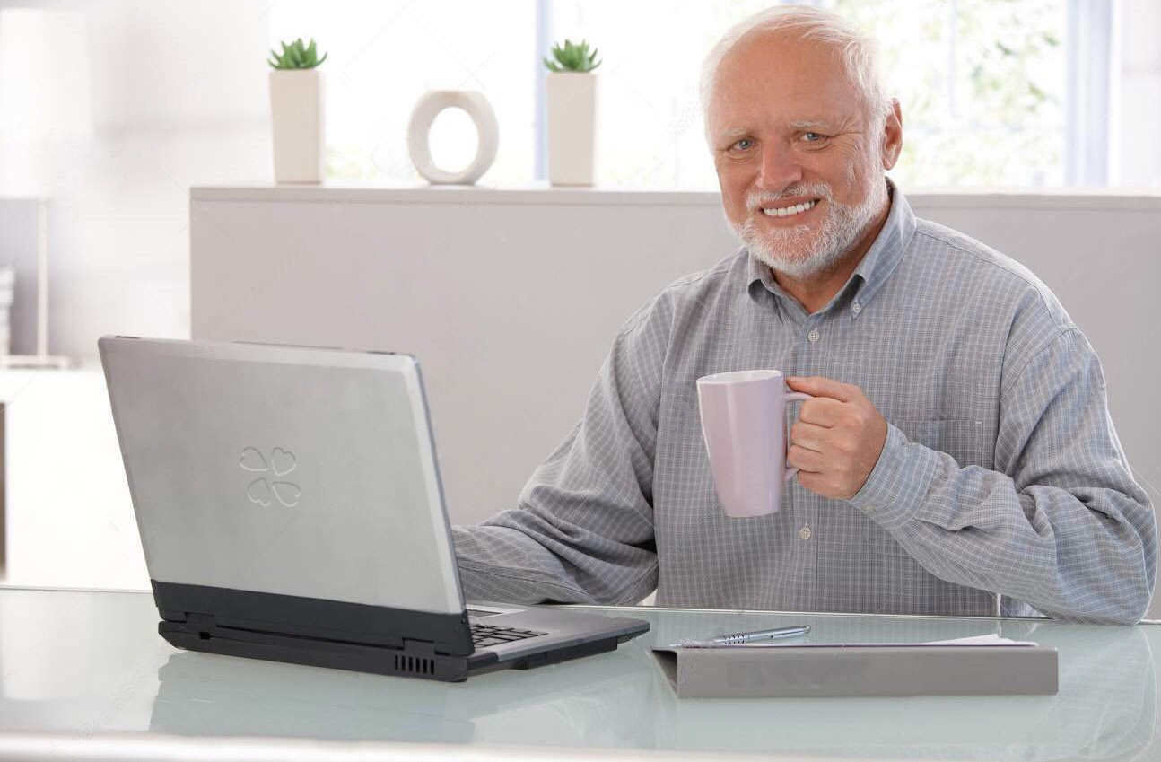 Old man computer coffee meme Blank Template - Imgflip