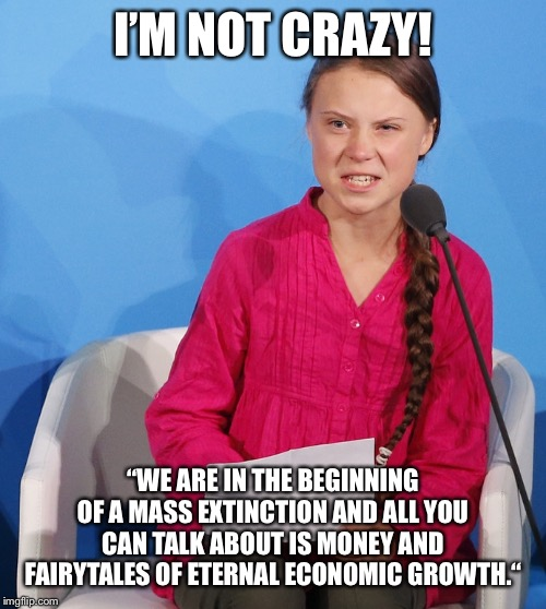 "I'm not crazy | I'M NOT CRAZY! ""WE ARE IN THE BEGINNING OF A MASS EXTINCTION AND ALL YOU CAN TALK ABOUT IS MONEY AND FAIRYTALES OF ETERNAL ECONOMIC GROWTH."" 