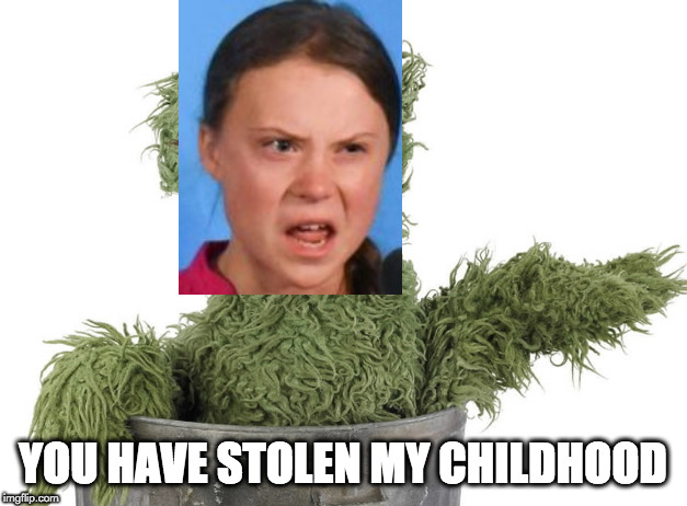 Greta the Grouch | YOU HAVE STOLEN MY CHILDHOOD | image tagged in global warming,greta thunberg | made w/ Imgflip meme maker