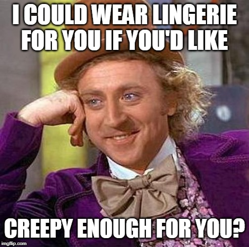 Creepy Condescending Wonka Meme | I COULD WEAR LINGERIE FOR YOU IF YOU'D LIKE CREEPY ENOUGH FOR YOU? | image tagged in memes,creepy condescending wonka | made w/ Imgflip meme maker