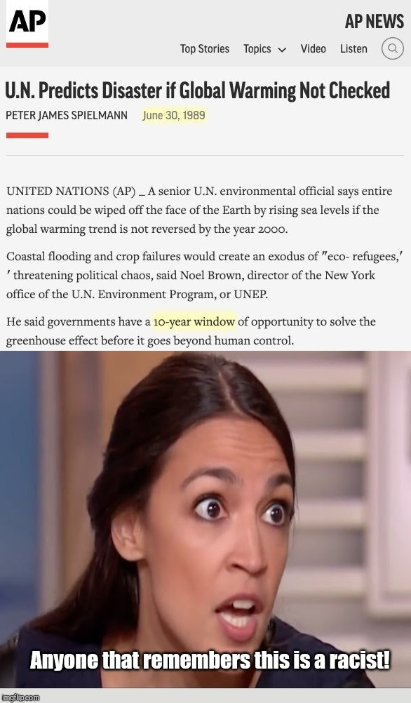 When confronted by evidence that false science can be politicized and updated for convenience... |  Anyone that remembers this is a racist! | image tagged in the un's 1989 climate apocalypse prediction,climate change,environmental politics,alexandria ocasio-cortez,climatology,liberal l | made w/ Imgflip meme maker
