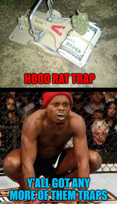 Watch those fingers!!! |  HOOD RAT TRAP; Y'ALL GOT ANY MORE OF THEM TRAPS | image tagged in hood rat trap,memes,dave chappelle,funny,tyrone biggums,hood rats | made w/ Imgflip meme maker