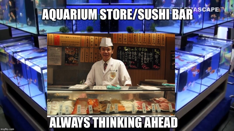 Aquarium Store Sushi Bar | AQUARIUM STORE/SUSHI BAR ALWAYS THINKING AHEAD | image tagged in business,aquarium,sushi bar,fish,pet store | made w/ Imgflip meme maker