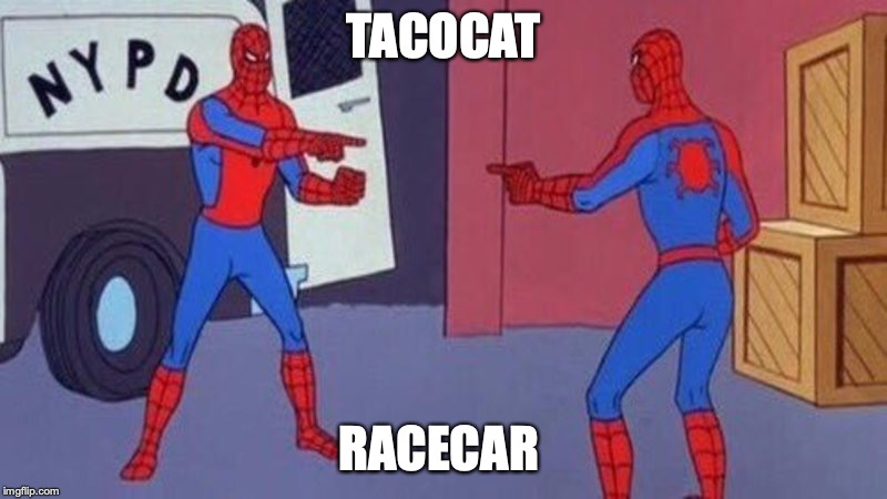 spiderman pointing at spiderman | TACOCAT RACECAR | image tagged in spiderman pointing at spiderman | made w/ Imgflip meme maker