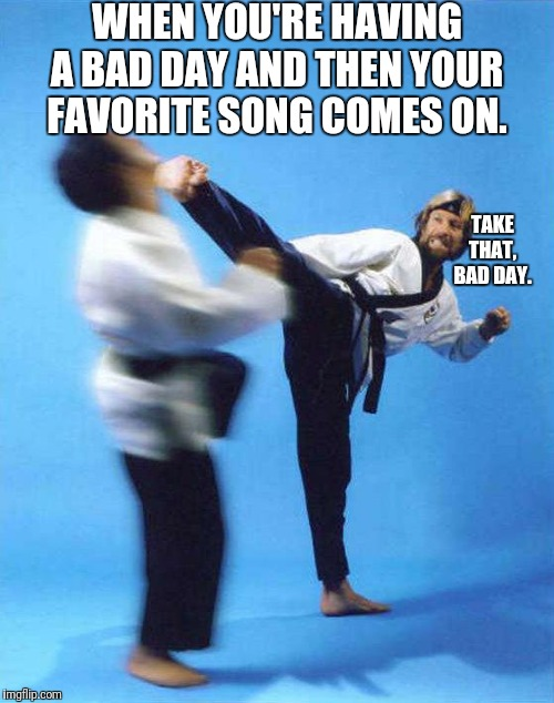 Take That | WHEN YOU'RE HAVING A BAD DAY AND THEN YOUR FAVORITE SONG COMES ON. TAKE THAT, BAD DAY. | image tagged in roundhouse kick chuck norris,bad day,favorite song,take that | made w/ Imgflip meme maker