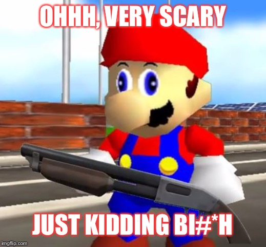 SMG4 Shotgun Mario | OHHH, VERY SCARY JUST KIDDING BI#*H | image tagged in smg4 shotgun mario | made w/ Imgflip meme maker
