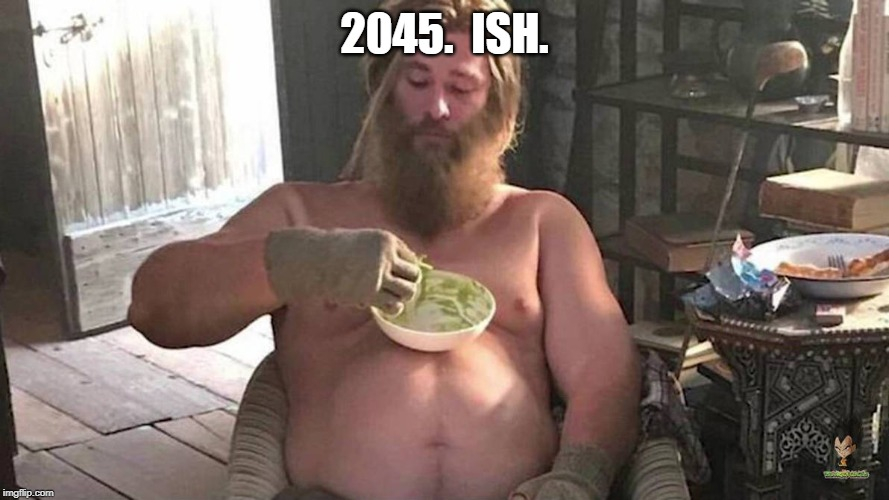 Fat Thor | 2045.  ISH. | image tagged in fat thor | made w/ Imgflip meme maker