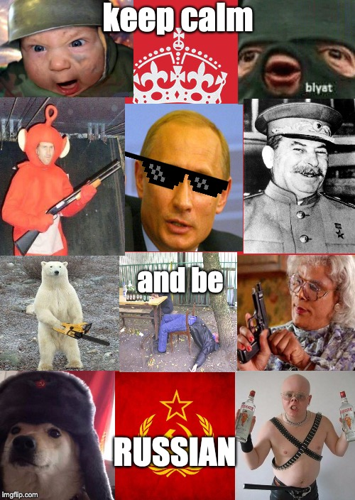 Keep Calm And Carry On Red | keep calm RUSSIAN and be | image tagged in memes,keep calm and carry on red | made w/ Imgflip meme maker