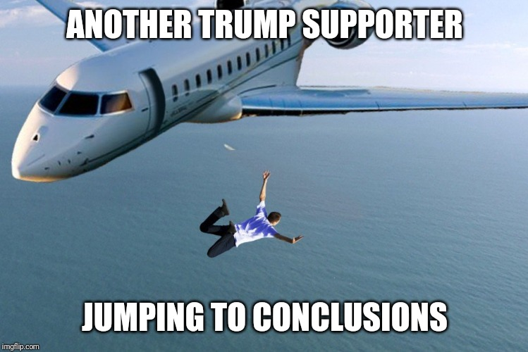 jumping to conclusions |  ANOTHER TRUMP SUPPORTER; JUMPING TO CONCLUSIONS | image tagged in jumping to conclusions | made w/ Imgflip meme maker