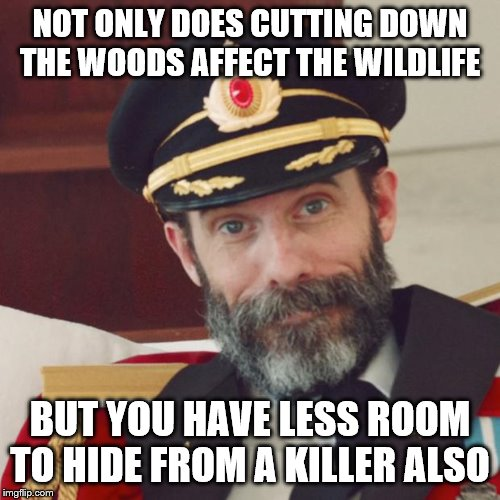 Captain Obvious | NOT ONLY DOES CUTTING DOWN THE WOODS AFFECT THE WILDLIFE BUT YOU HAVE LESS ROOM TO HIDE FROM A KILLER ALSO | image tagged in captain obvious,woods,trees,hiding from serial killer | made w/ Imgflip meme maker