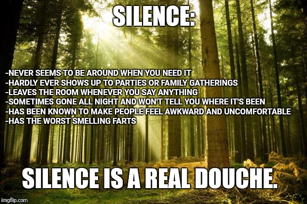 I shouldn't have to say it. | SILENCE: -NEVER SEEMS TO BE AROUND WHEN YOU NEED IT -HARDLY EVER SHOWS UP TO PARTIES OR FAMILY GATHERINGS -LEAVES THE ROOM WHENEVER YOU SAY  | image tagged in sunlit forest,silence,douchebag | made w/ Imgflip meme maker