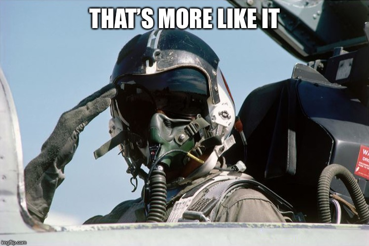 Fighter Jet Pilot Salute | THAT'S MORE LIKE IT | image tagged in fighter jet pilot salute | made w/ Imgflip meme maker