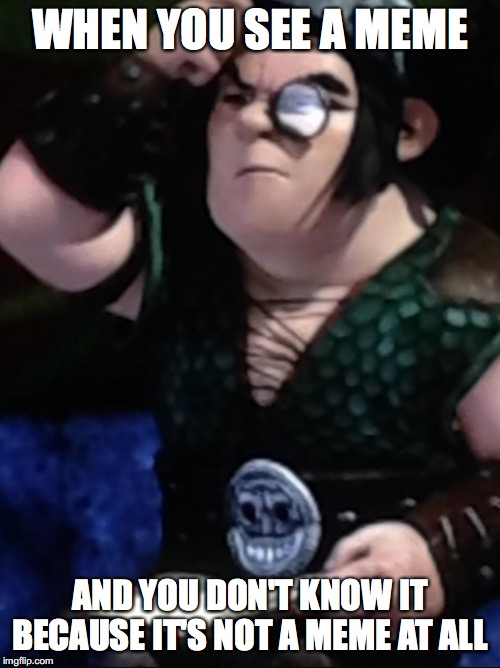 H.T.T.Y.D.'s Snotlout seems perfect for a meme |  WHEN YOU SEE A MEME; AND YOU DON'T KNOW IT BECAUSE IT'S NOT A MEME AT ALL | image tagged in how to train your dragon,clueless,what,are,these,tags | made w/ Imgflip meme maker