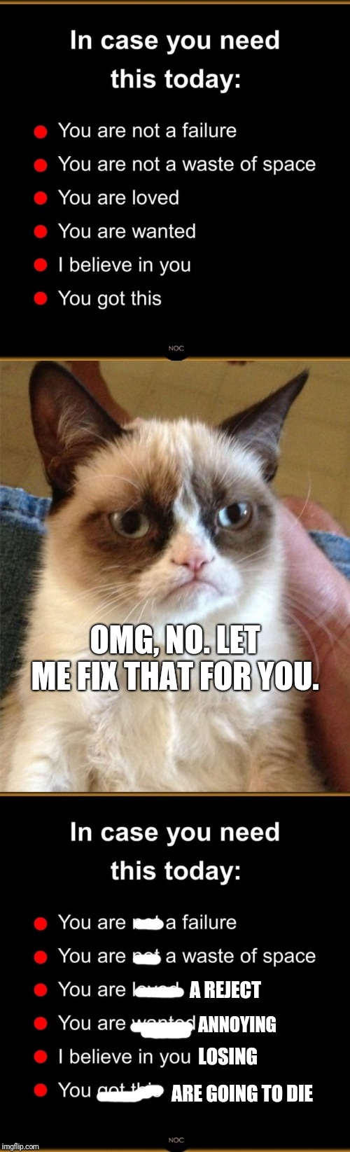 I couldn't resist :D | OMG, NO. LET ME FIX THAT FOR YOU. ARE GOING TO DIE A REJECT ANNOYING LOSING | image tagged in memes,grumpy cat,lol,funny memes,you suck,wtf | made w/ Imgflip meme maker
