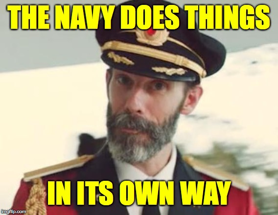 Captain Obvious | THE NAVY DOES THINGS IN ITS OWN WAY | image tagged in captain obvious | made w/ Imgflip meme maker