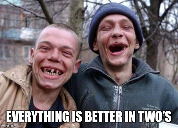 Ugly Twins Meme | EVERYTHING IS BETTER IN TWO'S | image tagged in memes,ugly twins | made w/ Imgflip meme maker