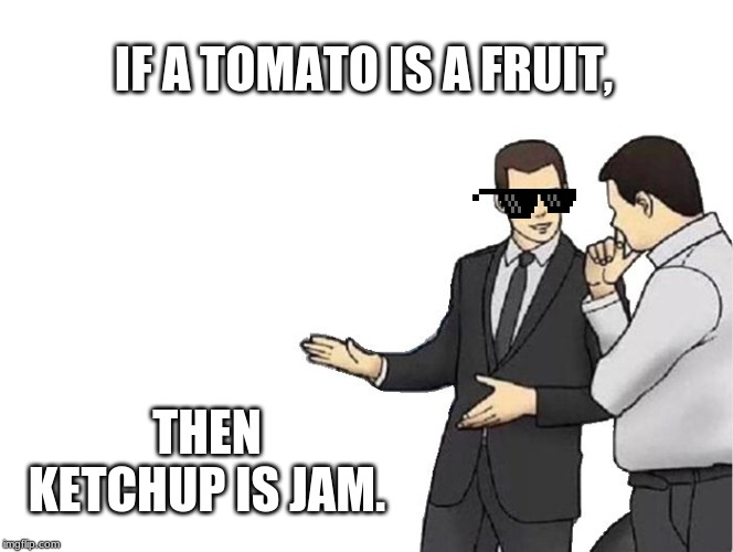 Car Salesman Slaps Hood | IF A TOMATO IS A FRUIT, THEN KETCHUP IS JAM. | image tagged in memes,car salesman slaps hood | made w/ Imgflip meme maker