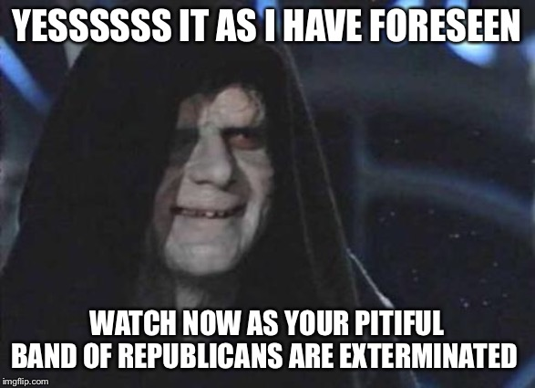 Emperor Palpatine  | YESSSSSS IT AS I HAVE FORESEEN WATCH NOW AS YOUR PITIFUL BAND OF REPUBLICANS ARE EXTERMINATED | image tagged in emperor palpatine | made w/ Imgflip meme maker