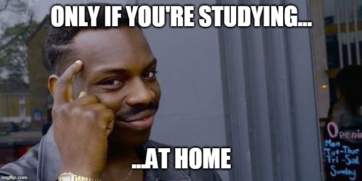 Point to head  | ONLY IF YOU'RE STUDYING... ...AT HOME | image tagged in point to head | made w/ Imgflip meme maker